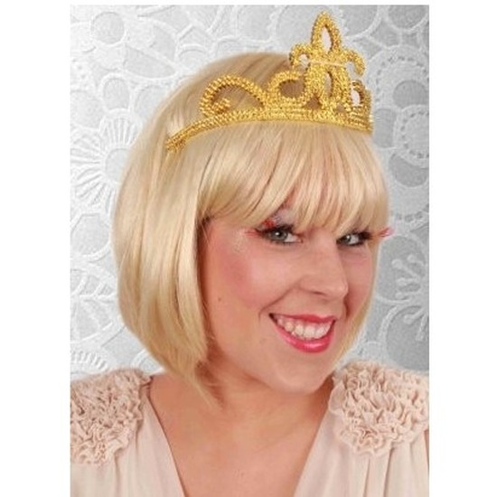 Prinsessen tiara goud plastic voor dames