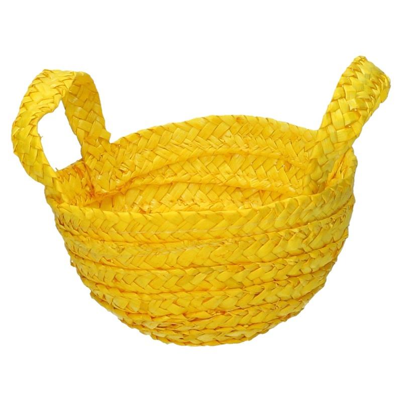 Rieten mandje geel 15 x 18 cm met hengsels