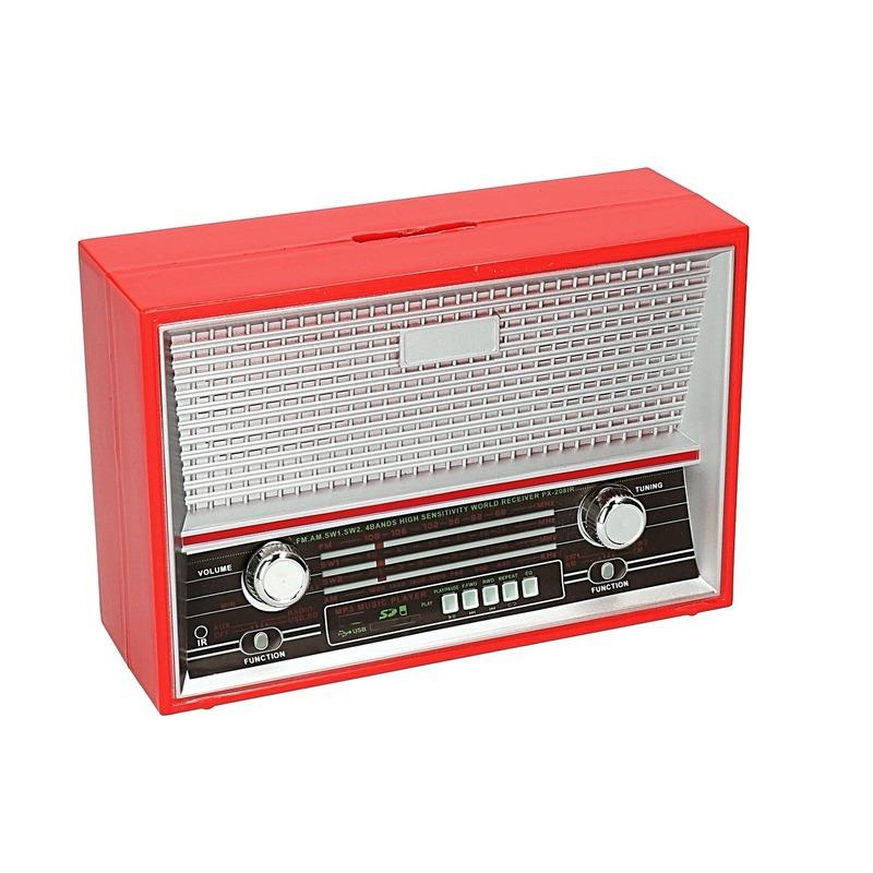 Rode retro radio spaarpot 18 cm