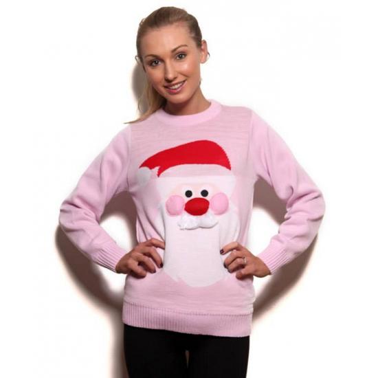 Kersttrui Vandaag Besteld Morgen In Huis.Foute Kersttrui Roze Met Kerstman Sinterklaas Versiering Kostuum