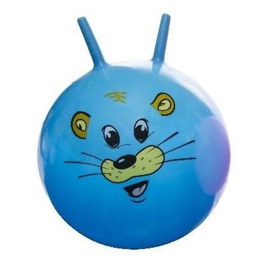Speelgoed skippybal met dieren gezicht blauw 46 cm