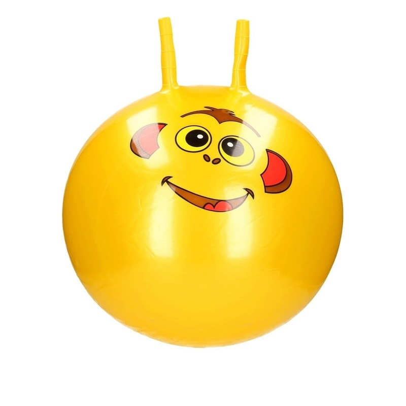 Speelgoed skippybal met dieren gezicht geel 46 cm