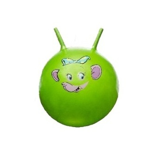 Speelgoed skippybal met dieren gezicht groen 46 cm