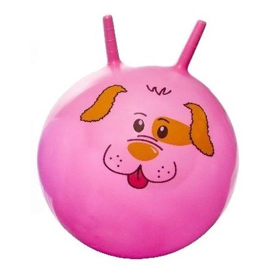 Speelgoed skippybal met dieren gezicht roze 46 cm