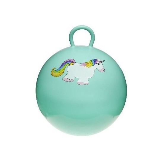 Speelgoed skippybal met eenhoorn mintgroen 46 cm