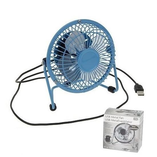 Usb ventilator blauw 15 cm
