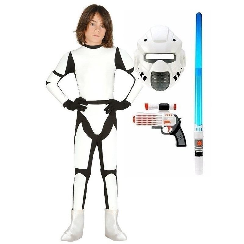 Verkleed witte ruimte soldaat kostuum maat 122-134 voor kinderen