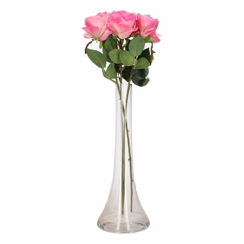 Woondecoratie smalle vaas met 3 roze rozen