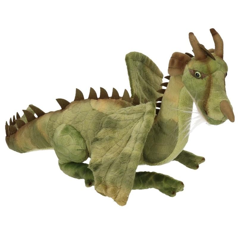 Zittende Groene Draak Knuffel 30 Cm