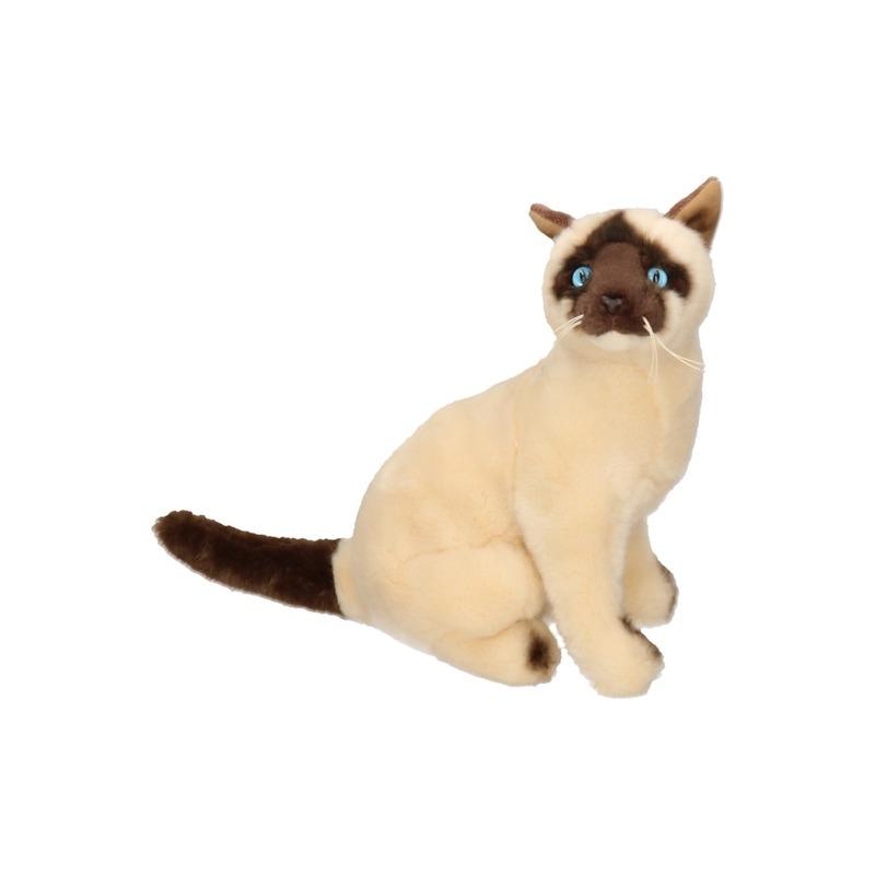 Zittende Siamese Kat Knuffel Dier 26 Cm