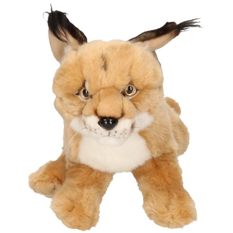 Zittende Woestijn Lynx Knuffel Dier 28 Cm