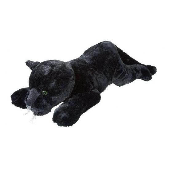 Zwarte panters knuffels liggend 60 cm knuffeldieren