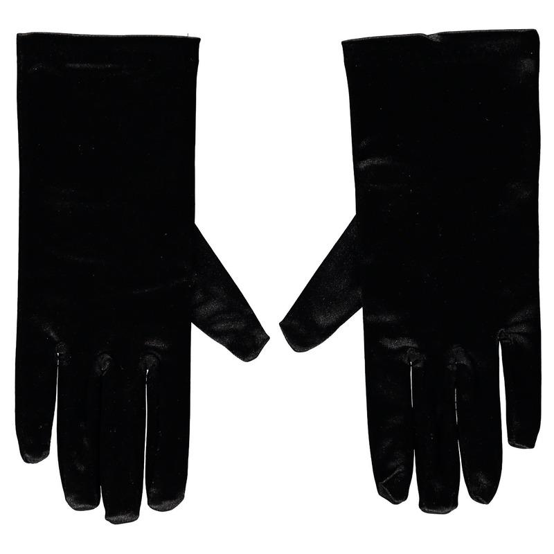 Zwarte satijnen zwarte Pieten handschoenen 20 cm