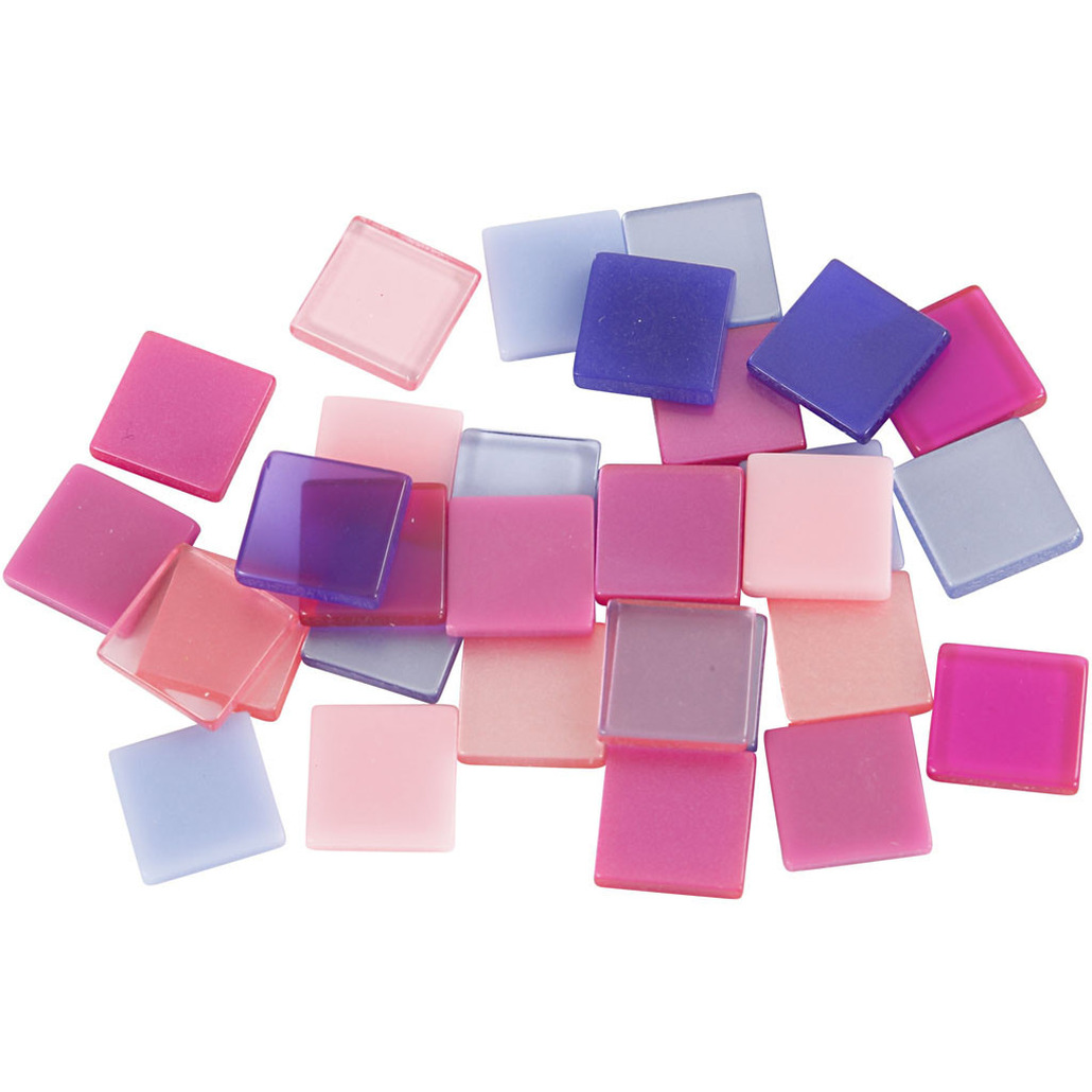 100x Mozaiek tegels kunsthars paars-roze 10x10