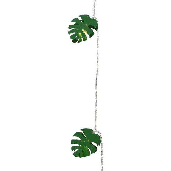 1x Feest-party lichtsnoer lampjes 180 cm groene blaadjes verlichting