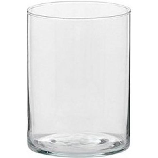 1x Glazen kaarsenhouder voor theelichtjes-waxinelichtjes 5,5 x 6,5 cm