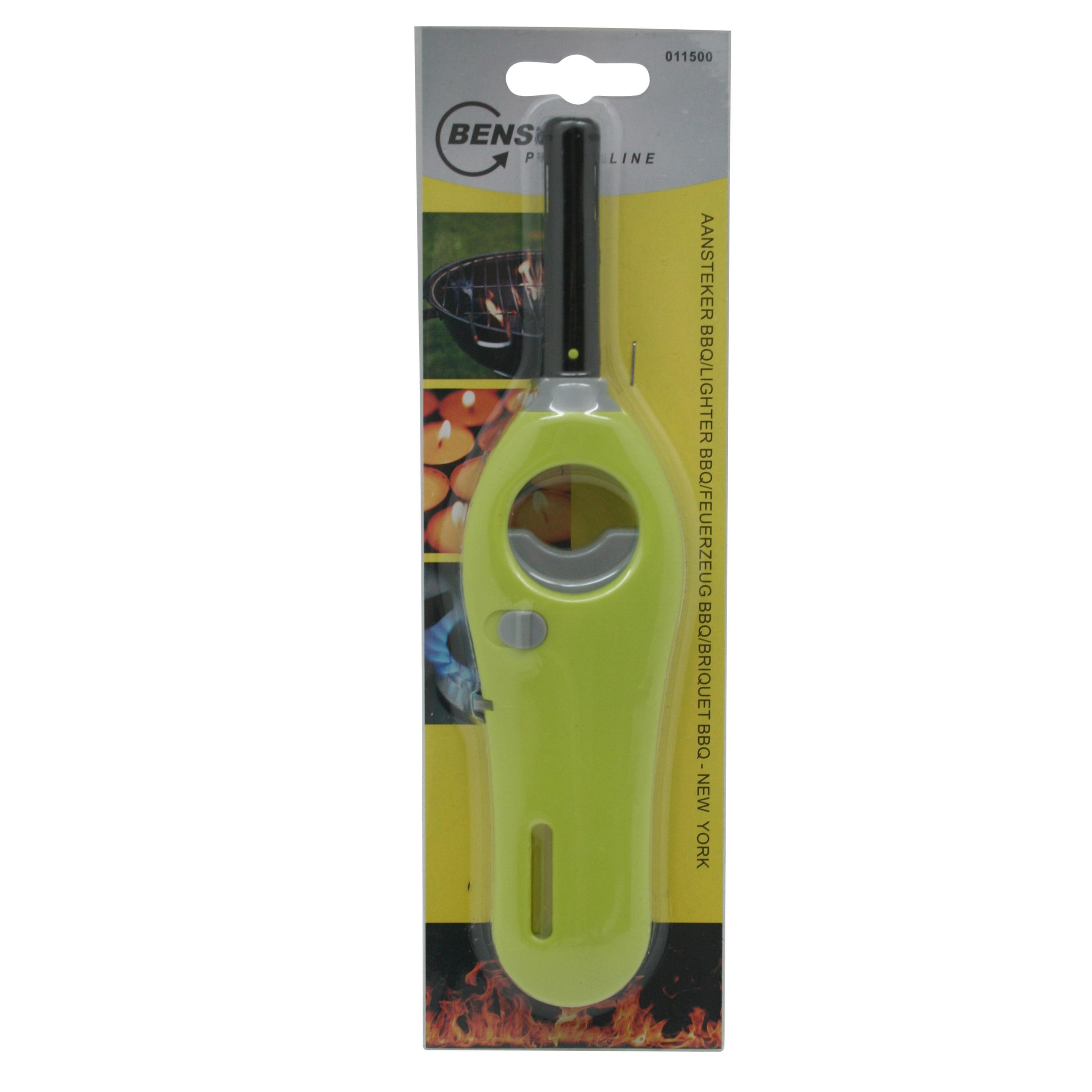 1x stuks gas-bbq-keuken aanstekers navulbaar groen 18 cm