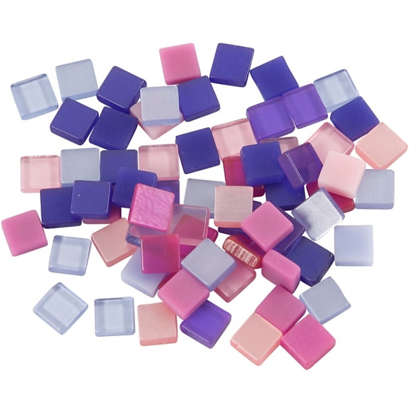 25 gram Mozaiek tegels kunsthars paars-roze 5 x 5 mm