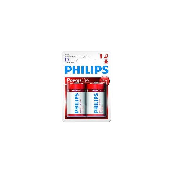 2x Phillips batterijen R20 D long lasting