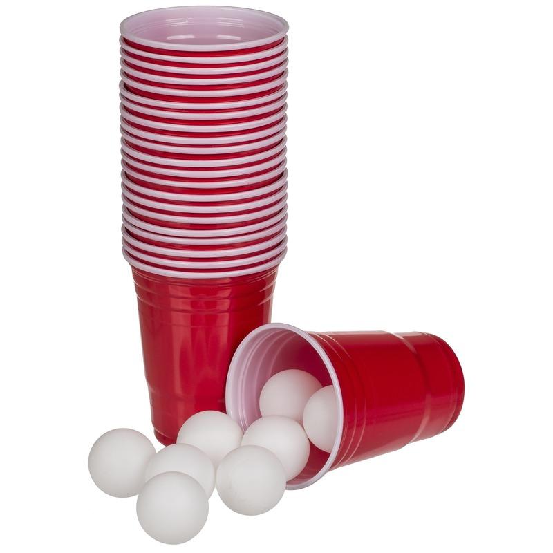 Beer pong bekers met balletjes 37 delig