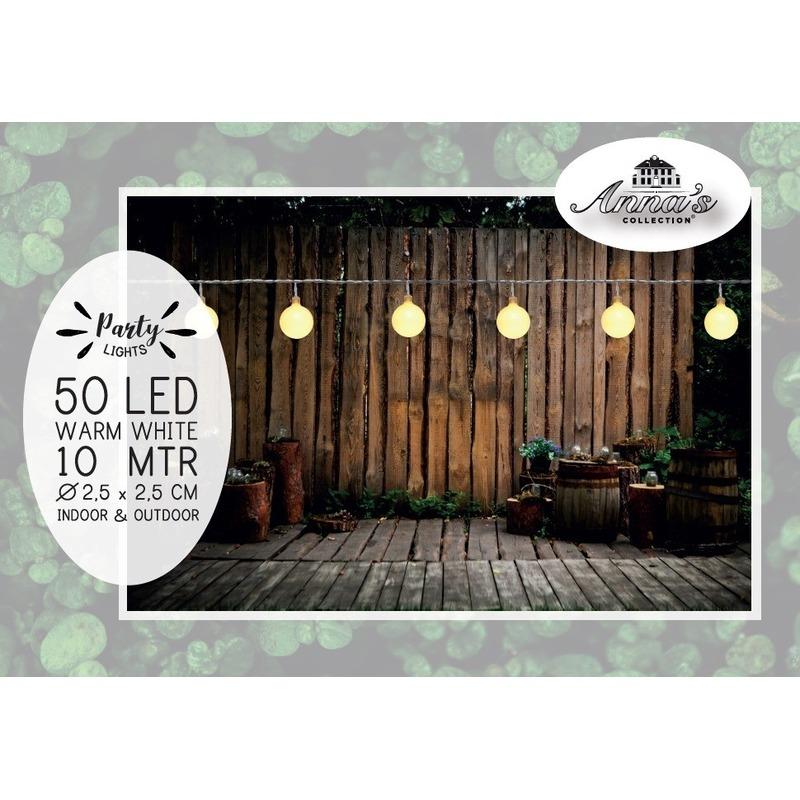 Binnen-buiten verlichting lichtsnoer 10 meter met warm witte LED lampjes