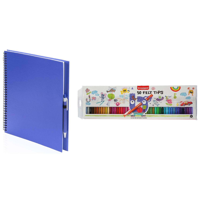 Blauw schetsboek-tekenboek met 50 viltstiften
