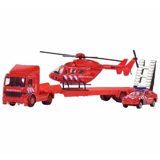 Brandweer helikopter set 3 delig voor kinderen 26 cm