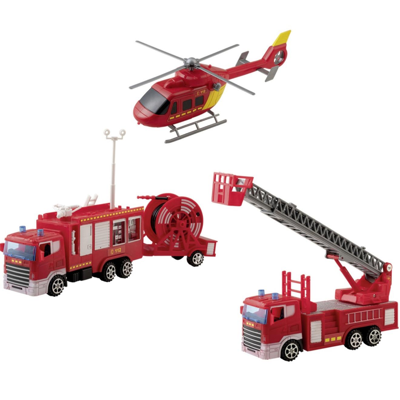 Brandweer werkvoertuigen speelgoed set 4-delig