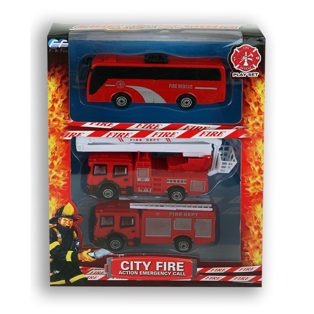 Brandweerauto speelgoed voertuigen set