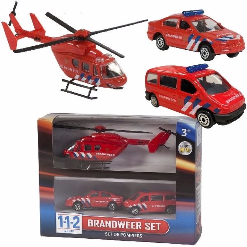 Brandweerwagens en helikopter speelset