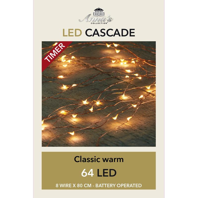 Cascade draadverlichting koperdraad 64 warm witte lampjes op batterij