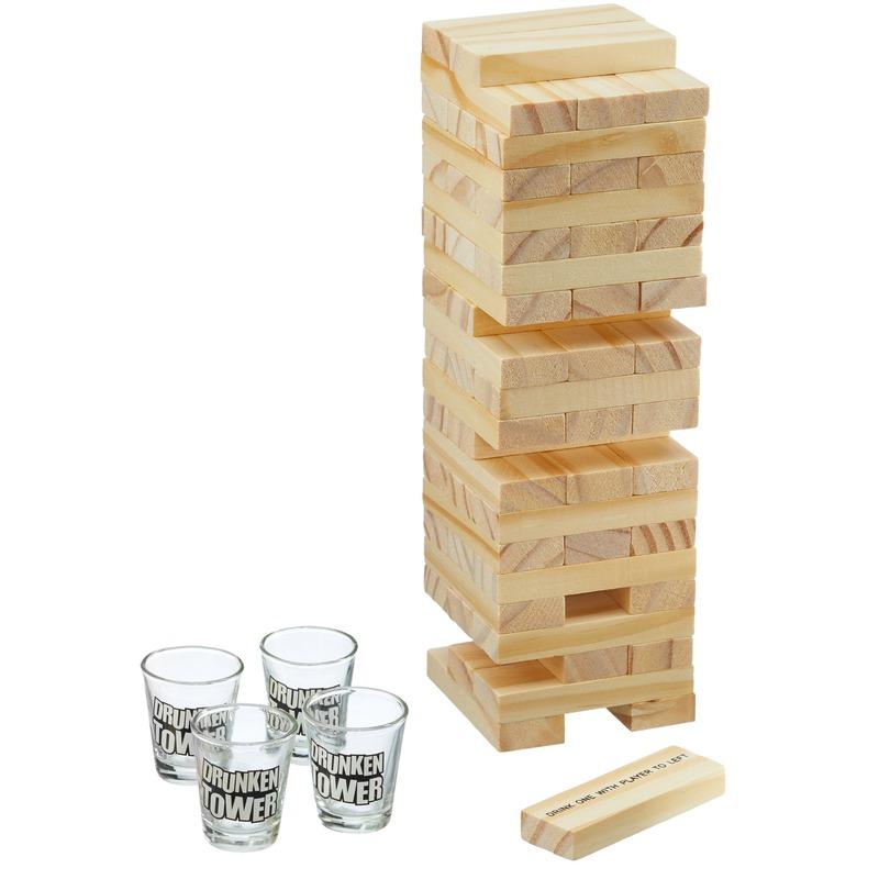 Drankspel bouwsteen toren met shotglaasjes
