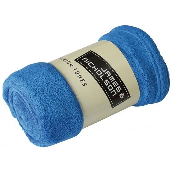Fleece woondeken-woonplaid kobaltblauw 120 x 160 cm