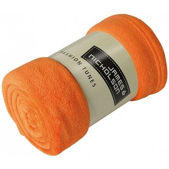 Fleece woondeken-woonplaid oranje 120 x 160 cm