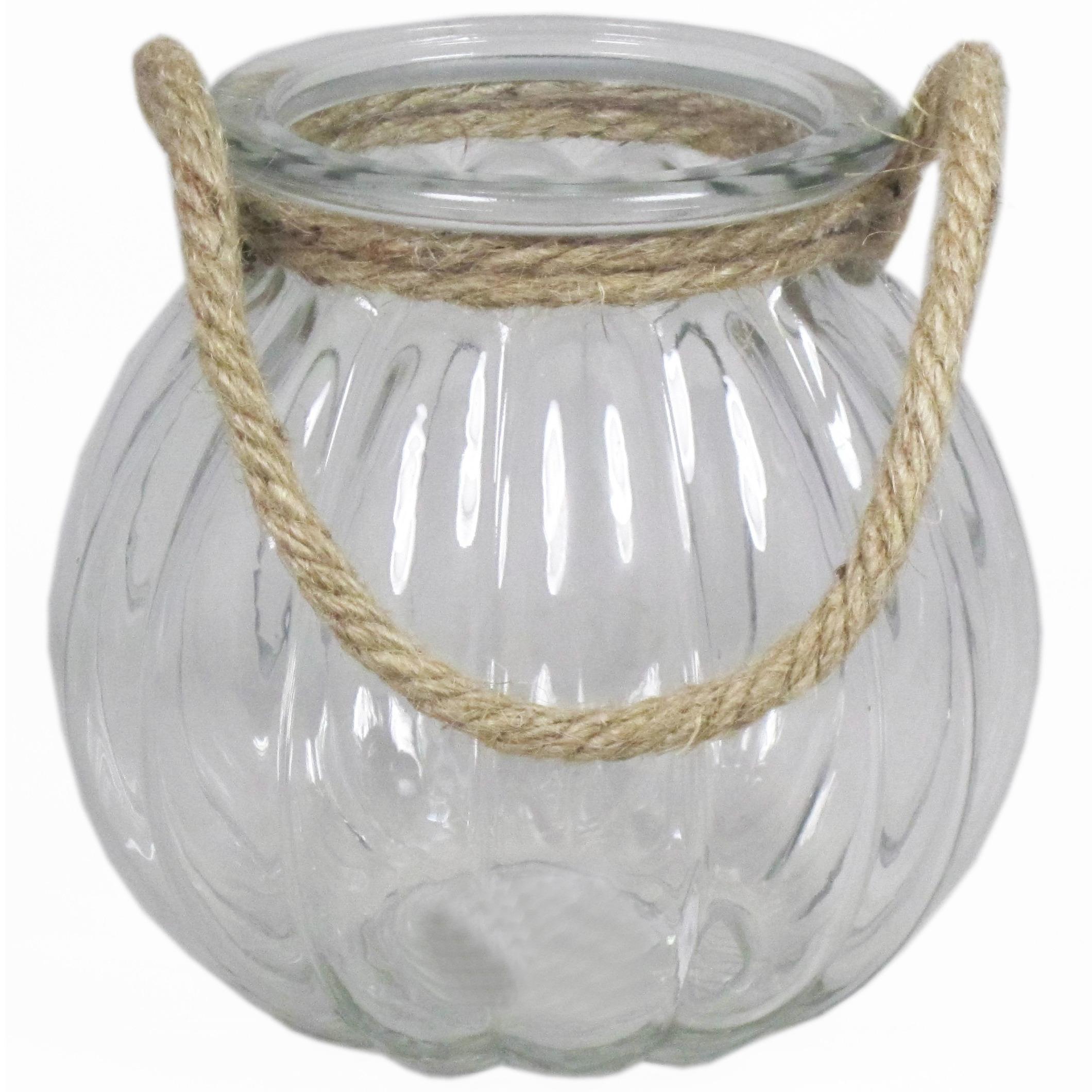 Glazen ronde windlicht 2 liter met touw hengsel-handvat 14,5 x 14,5 cm