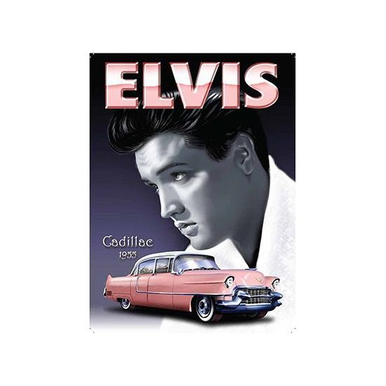 Grote muurplaat Elvis Cadillac 30x40cm