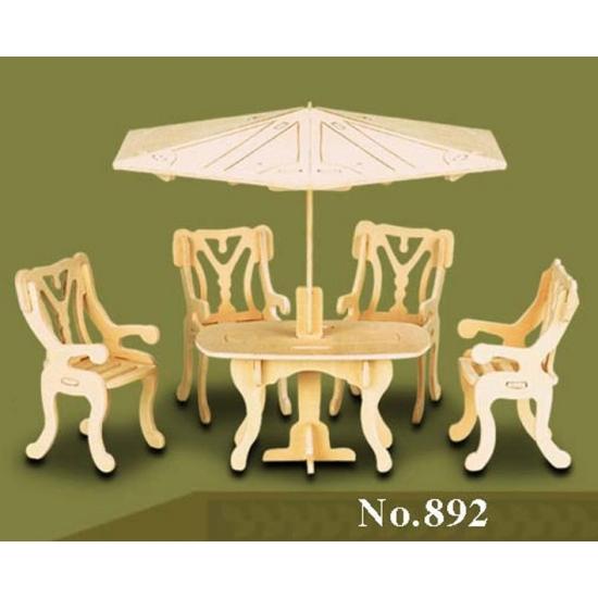 Houten poppenhuis meubels tuinset