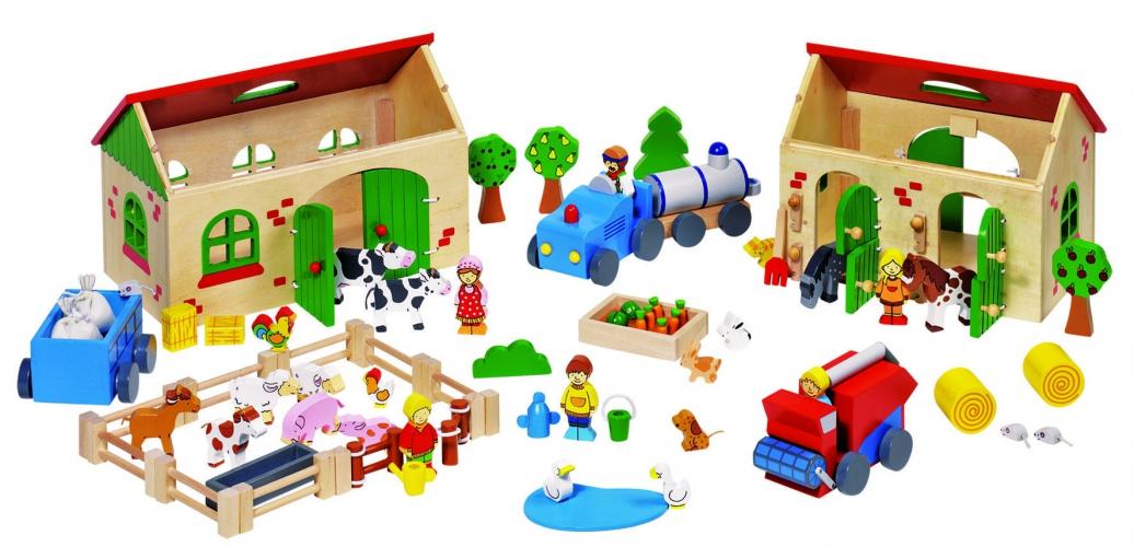 Houten speel boerderij