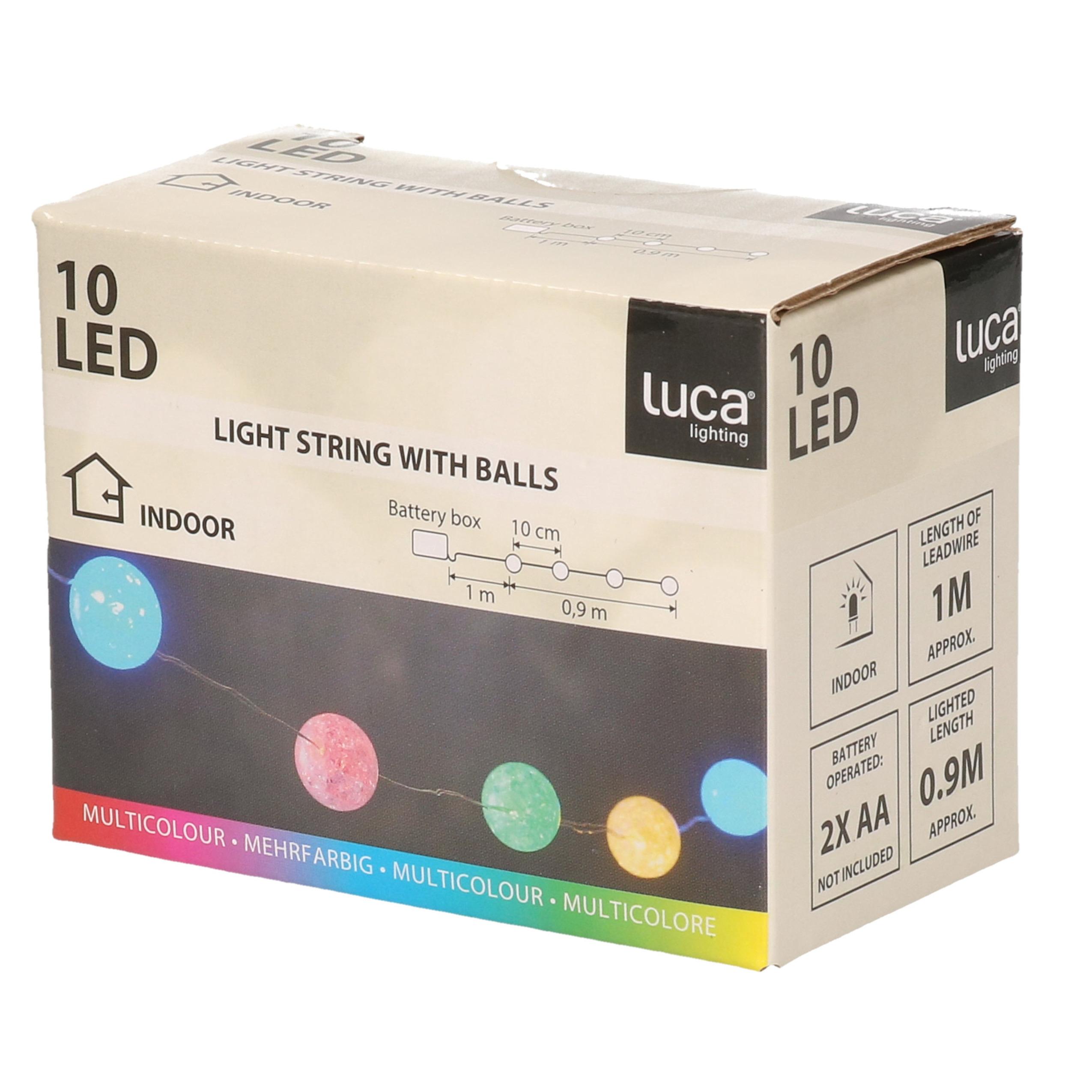 Kerstverlichting lichtsnoer op batterijen met 10 gekleurde lampjes-lichtjes