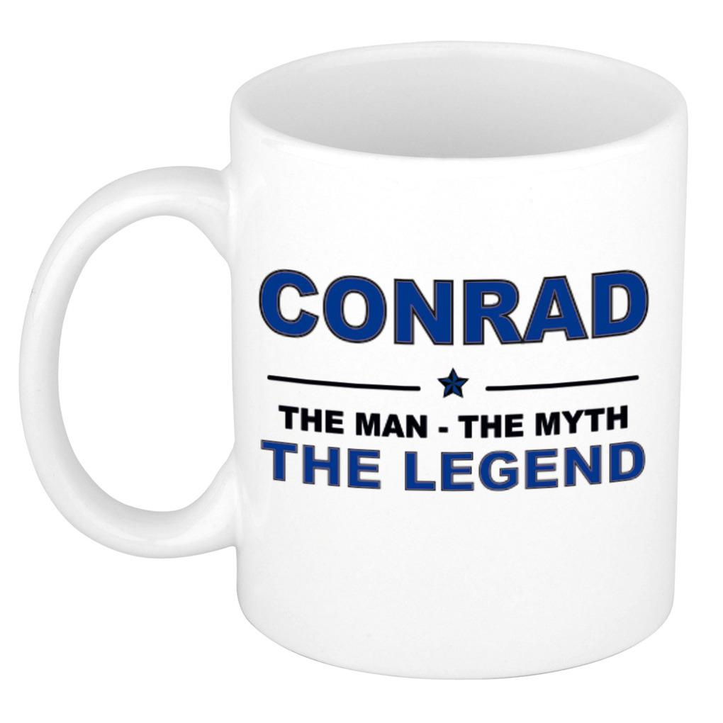 Naam cadeau mok- beker Conrad The man, The myth the legend 300 ml