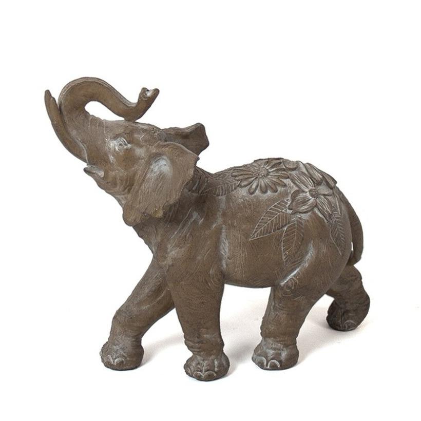 Olifant woondecoratie dieren beeldje bruin 25 x 8 x 20 cm