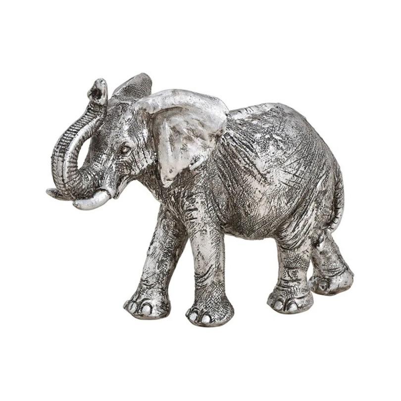 Olifant woondecoratie dieren beeldje zilver 16 x 12 x 6 cm