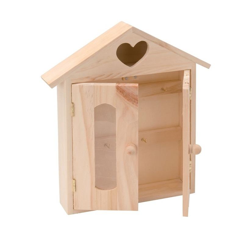 Onbedrukt houten sleutelkastje 26,5 cm
