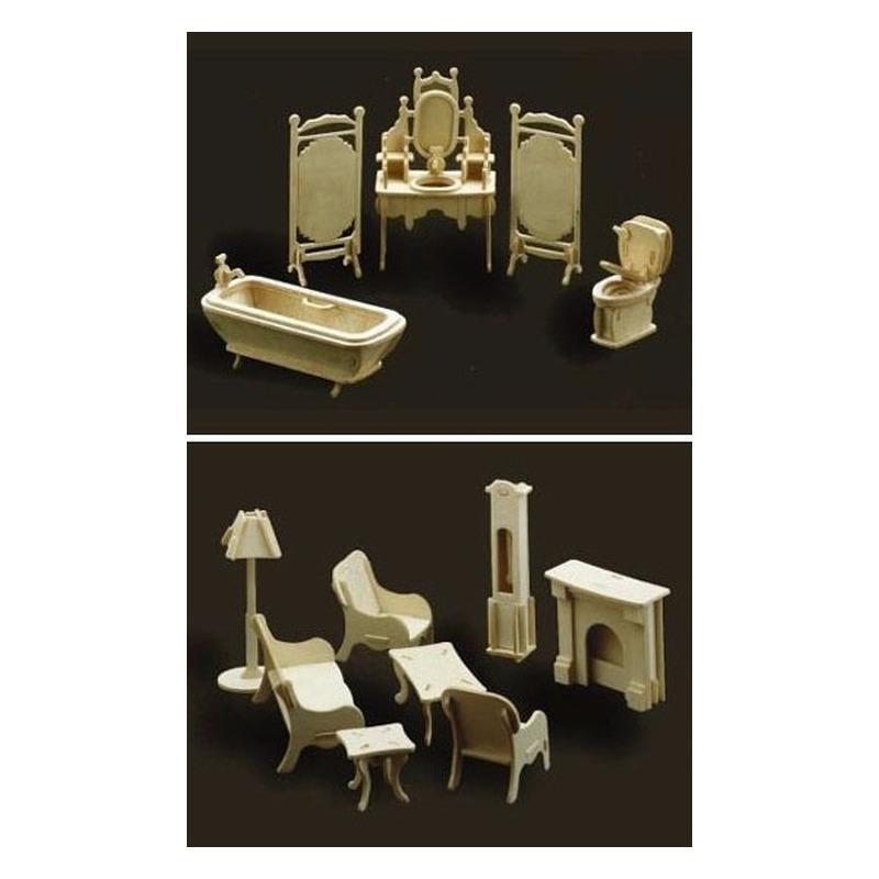 Poppenhuis meubels-meubeltjes huiskamer en badkamer