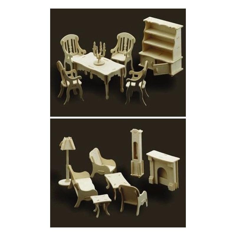 Poppenhuis meubels-meubeltjes huiskamer en eetkamer