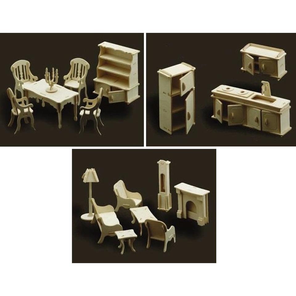 Poppenhuis meubels-meubeltjes keuken, huiskamer en eetkamer
