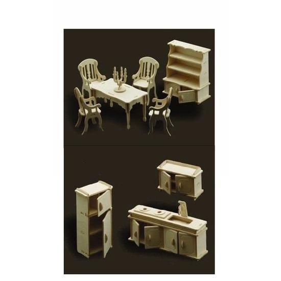 Poppenhuis meubels set voor de keuken en eetkamer