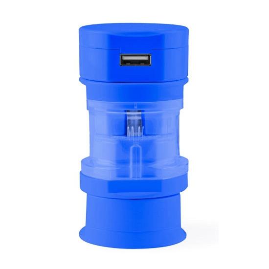 Reis USB wereldstekker blauw