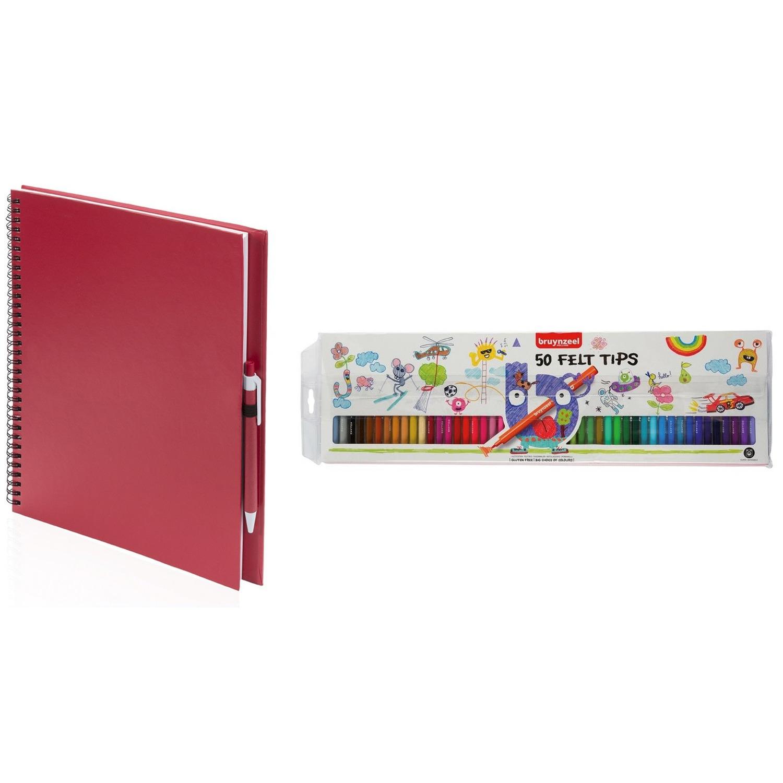 Rood schetsboek-tekenboek met 50 viltstiften