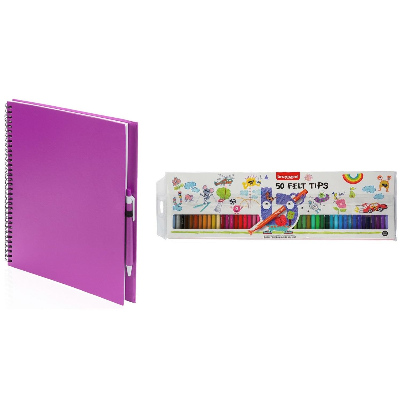Roze schetsboek-tekenboek met 50 viltstiften